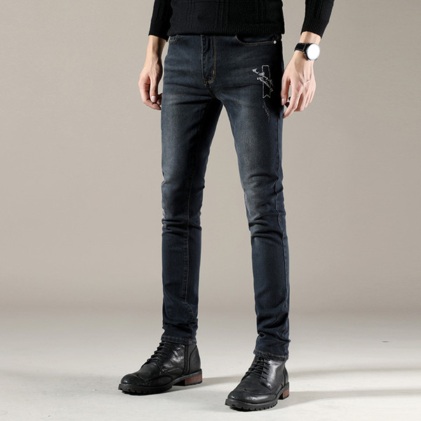Solid Color Men Jeans Pants Scratched Embroidery Men's Denim Jeans Stretch Trousers Black Denim Trousers