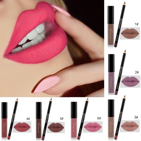 Sexy Lipsticks Long Lasting Mae Liquid Lipstick+velvet Lips Pencil Makeup Waterproof Batom Liquid Lipstick Makeup Set 4137