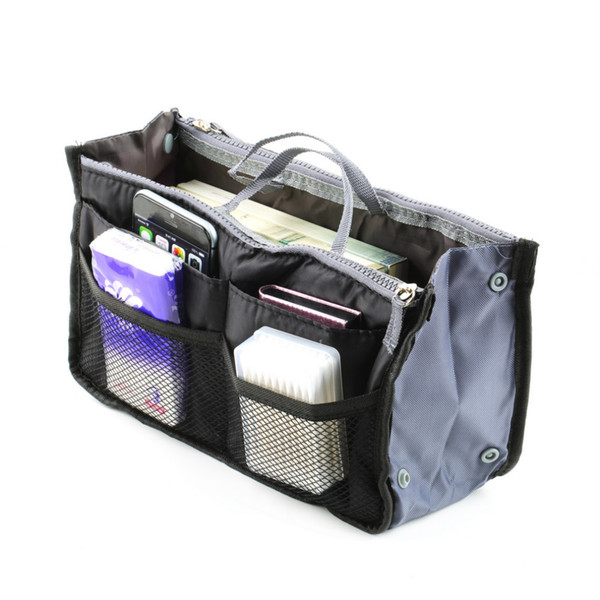 Women Travel Kit Lady Organizer Organiser Travel Bag Purse Handbag Insert Large Tidy Makeup 3 Color Well Sell