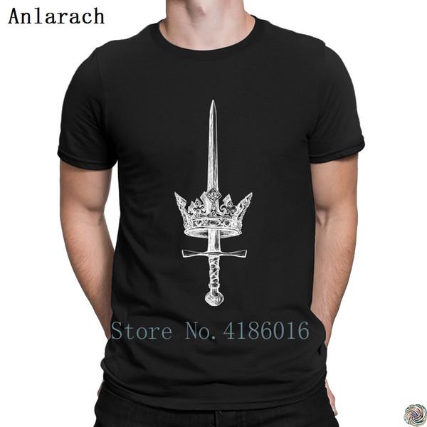 Maglietta Sword through Crown Maglietta personalizzata da sole vintage in cotone per uomo nice homme Quirky HipHop Top