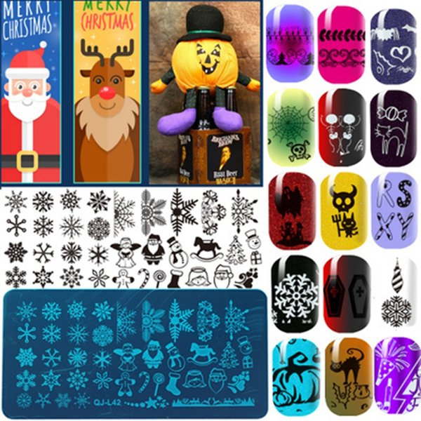 12x6cm / pc Nail Art Stamping Templates Natale Lettere Pattern Stamp per Nails 2018 I più venduti Manicure e Pedicure Supply