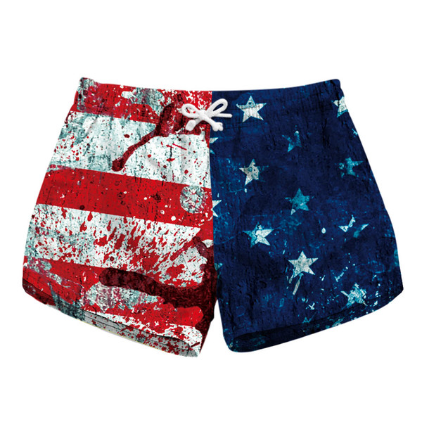 S To XL Elastic Women Beach Sports Shorts 3 Paerns American Flag Diamond Print Workout Girls Fitness Shorts