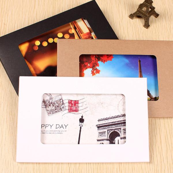 Caixa de cartão de papel Kraft dobrável caixa de foto com caixa de exibição de cartão de saudação de janela DIY