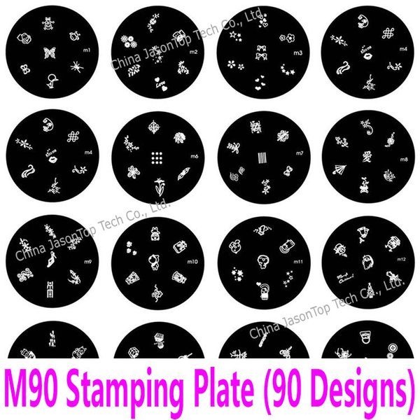 Stainless Steel Nail Stamping Plates Embossing Fashion Image Pattern Transfer Print Stamping Template Konad Stencils M 90 Design