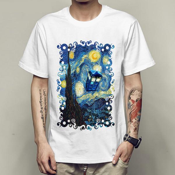 La noche estrellada camiseta de van gogh El doctor who space booth vestido de manga corta Camisetas frescas Ropa unisex Camiseta modal de calidad