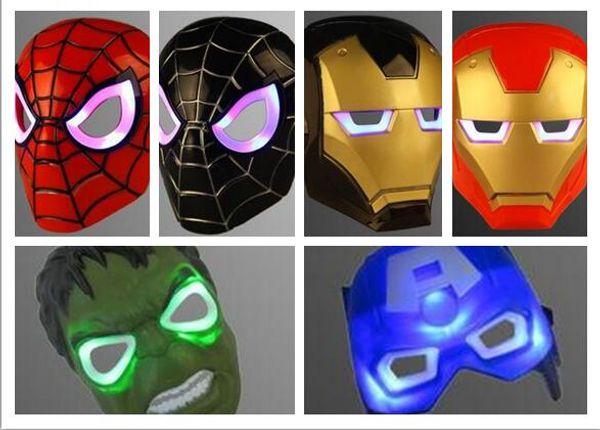 Navidad LED brillante máscara de superhéroe para adultos adultos Avengers Marvel spiderman ironman capitán américa hulk batman máscara de fiesta