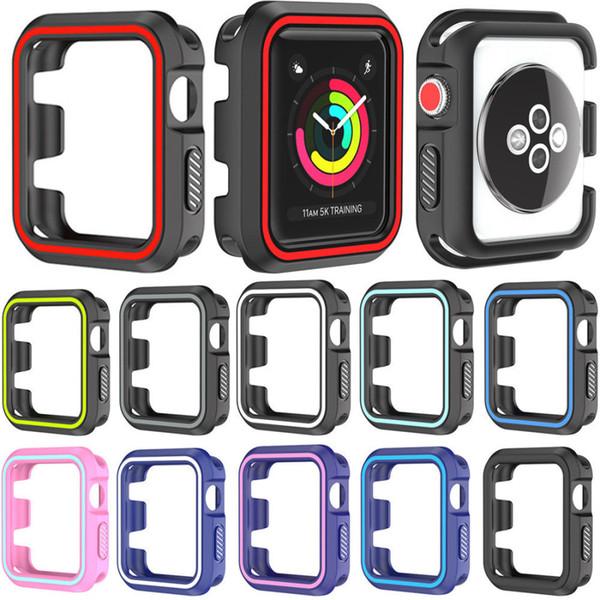 Pour Apple Watch 38mm 42mm Silicone Armor Case Housse De Protection Peau De Mode Pare-chocs Robuste Haute Qualité
