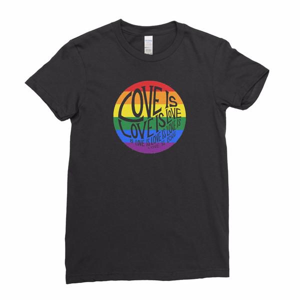 LGBT Gay Pride Rainbow Lesbian Love is Love Peace Women T shirt Tee Top