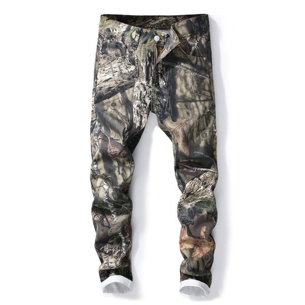 Transporte da gota 3D impresso calças jeans masculinas slim fit camuflagem colorido pintado denim calças ABZ26