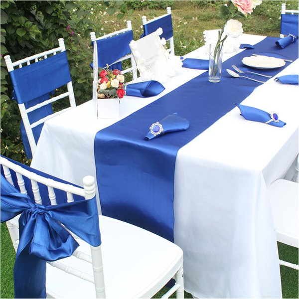 best selling 17color 12 x 108 inches Long Satin Table Runner for Wedding, Table Runners fit Rectange and Round Table Decorations and chair cover sashes