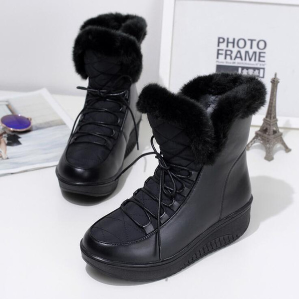 Plush Female Snow Boots Lace Up Winter Fur Shoes For Women Flat Waterproof Down Casual Platform Short Boots Patchwork Black White ADF-4144