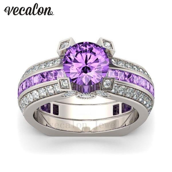 Wholesale- Vecalon Luxury Female Engagement ring Purple 5A zircon Cz 925 Sterling Silver Birthstone wedding Band ring Set for women men