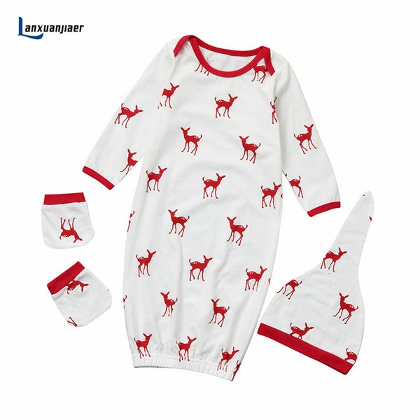 Lanxuanjiaer Newborn Baby Sleeping bag cartoon cotton cute deer infant boys girls sleep Sack with hat for 6-18 month hot sale