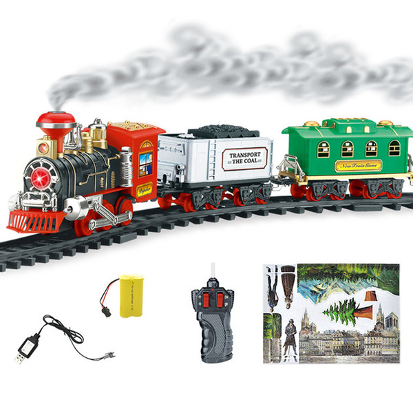 Model Train Toy Railroad Railway Remote Control RC Track Train Car Electric Steam Smoke RC Christmas Train Set Model Toy Gift