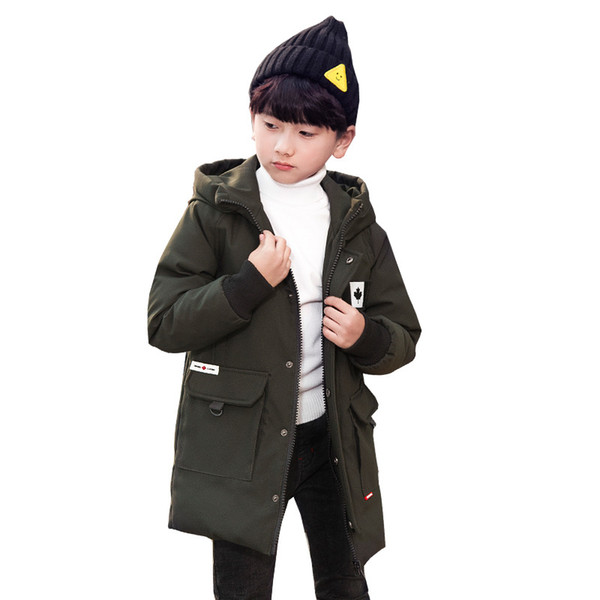 Big Boys Down & Parkas 2018 Winter Kids Outerwear Thicken Boys White Duck Down Children Jacket And Long Jacket Age 5-15T
