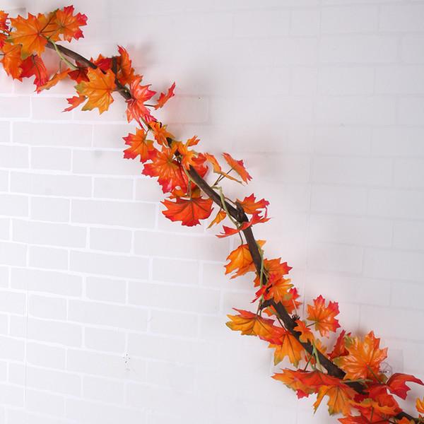 Décoration murale Feuilles Guirlande Artificier de verdure Automne Feuille d'érable Vigne Faux Feuillage de soie Accueil jardin Décoration Boston Ivy en rotin décoratif