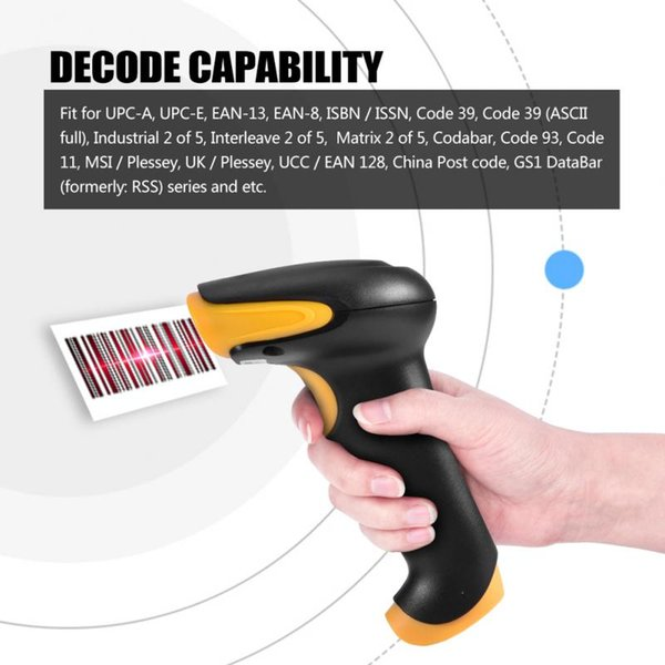 Barcode Scanner with1D Wired Portable Handheld Bar-code Reader 200m/s With Stand with high quality