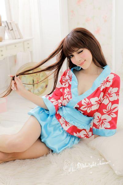 Japanese kimono traditional girls Geisha cosplay sexy bathhouse womens females suits cosplay sexy red sakura bud cos Costume