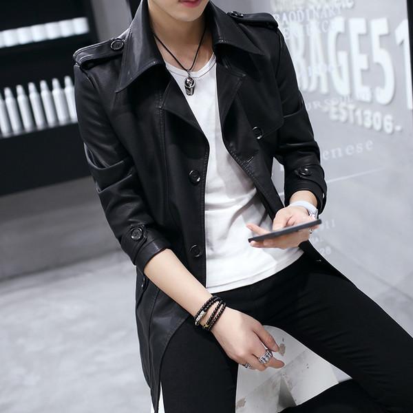Atacado- 2017 Outono Inglaterra Estilo Moda Masculina Leather Leather Coat. Trincheira de couro casual de homens de lapela moda masculina de alta qualidade