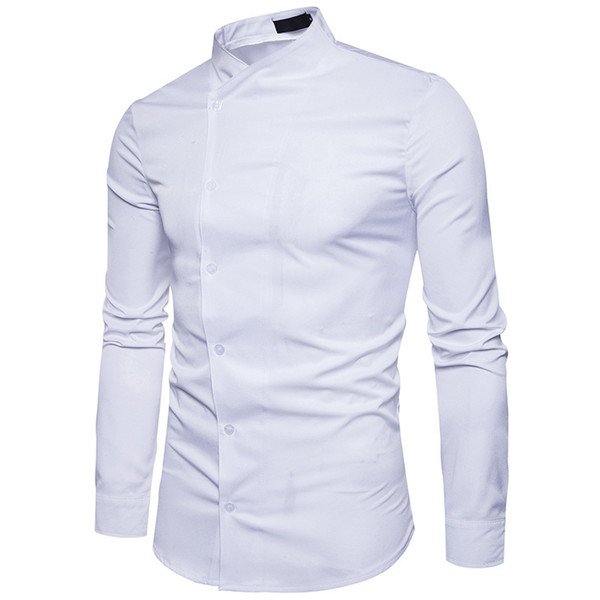 And Winter New Pattern Fashion Solid Color Joker Long Sleeve Man Personality Oblique Placket Leisure Stand Lead European Code