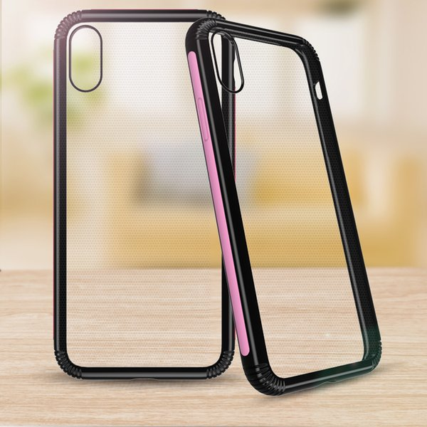 Clear Acrylic TPU Hybrid Bumper Cell Phone Cases For Iphone Xs Max Xr Samsung Galaxy J4 J6 2018 Silicone Shockproof Slim Back Case