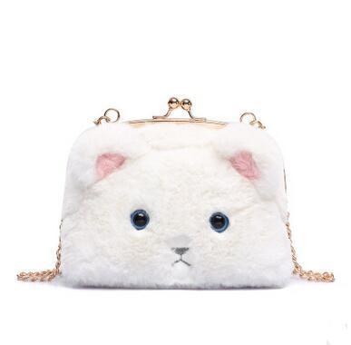 Cute Plush Cat Shoulder Bags Fashion Plush Bag For Girls Mini Hasp Coin Purse Phone Bags Handbags