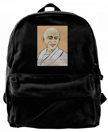 Mahatma Gandhi happiness is in harmony Canvas Best Backpack Unique Camper Backpack For Men & Women Teens College Travel Daypack Black