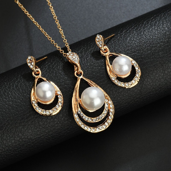 fashion gold color chain sexy noble Pearl Water Drop pendant Necklace Earring Jewelry Sets Wedding Jewelry Women