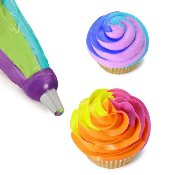 Icing Piping Bag Nozzle Converter Tri-color Cream Coupler Cake Decorating Tools For Cupcake Fondant Cookie 3 Hole VBO47 P12 0.5