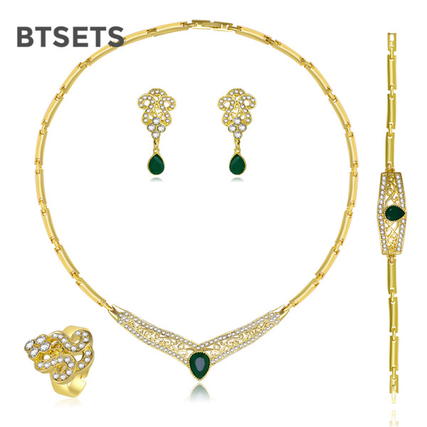BTSETS Cheap Fashion Jewelry Sets For Women Bridesmaid African Beads Jewelry Set Wedding Rhinestone Statement Necklace Set