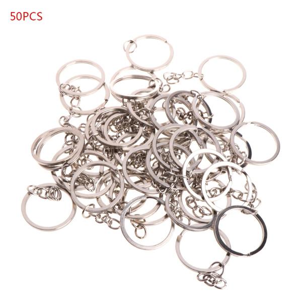 NEW 50 Pcs Key Ring Stainless Steel Key Chain Portable Brief Hoop Metal Loop Outdoor