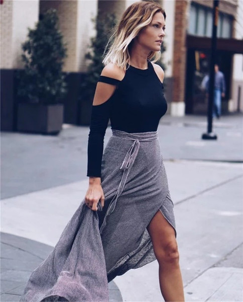 Newest Summer Fashion Loose Strapless T-Shirts For Women Casual Long Sleeve O-Neck Woman T Shirts Sexy Tees Basic Crop Top