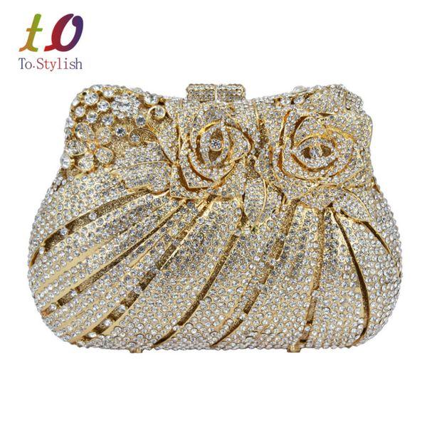 Flor de ouro de Luxo Saco de Noite De Cristal Rose Diamante Banquete Bag Sparkly Diamante Festa de Casamento Bolsa Pegae Embreagem 88176