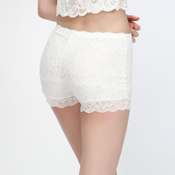 8850d798c6c7 Compre Mujeres Pantalones Cortos De Seguridad 100% Forro De Seda Natural  Boxer Sin Costuras Cordón Saludable Shorty Femme Dentelle Blanco Negro Ropa  ...