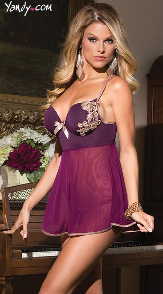 Sexy Lingerie apoio aberto Bust Push Up Bra Cup Backless cetim Nightgown Mulheres Bordados Nightwear deslizamento Lace Sex Dormir Vestido S1011