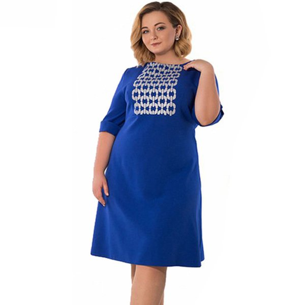 Fashion Elegant Women OL Office Work Wear Print Plus Size Dress 4XL 5XL 6XL  Blue Autumn High Waist Robe Femme Big Size Vestidos Green Dresses For ...