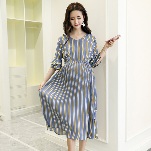 best selling Vertical Striped Chiffon Maternity Long Dresses V Neck Slim Waist Charming Clothes for Pregnant Women Elegant Pregnancy