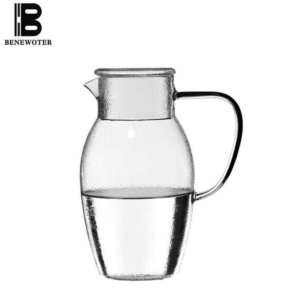 1500 ml Hogar Japonés Drinkware Alta Capacidad Botella de Agua de Cristal Resistente al Calor Flor Tetera Leche Jugo de Fruta Café Hervidor de Regalo