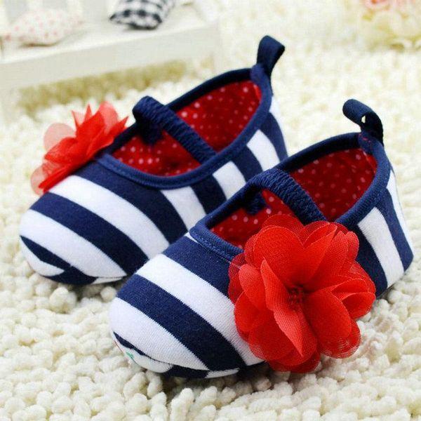Toddler Girls Flower Crib Shoes Soft Stripes Élastiques Casual Party Chaussures de bébé