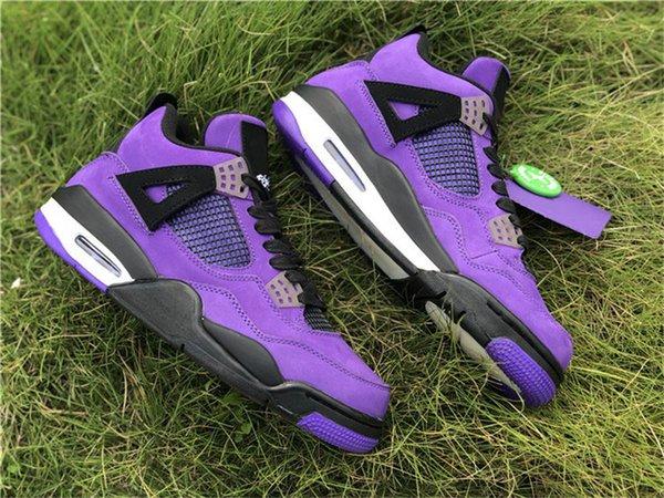 4dcccd0385cc 2018 Release 4 x Travis Scott 4S Cactus Jack IV Purple Blue Basketball  Shoes Suede Sports