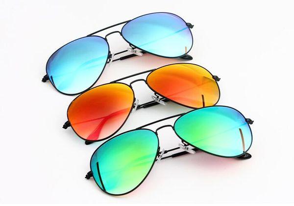 High quality Round Metal Top grade Sunglasses Eyewear Flash Colorful Glass Lens Men Women Travel Optical Sun Glasses