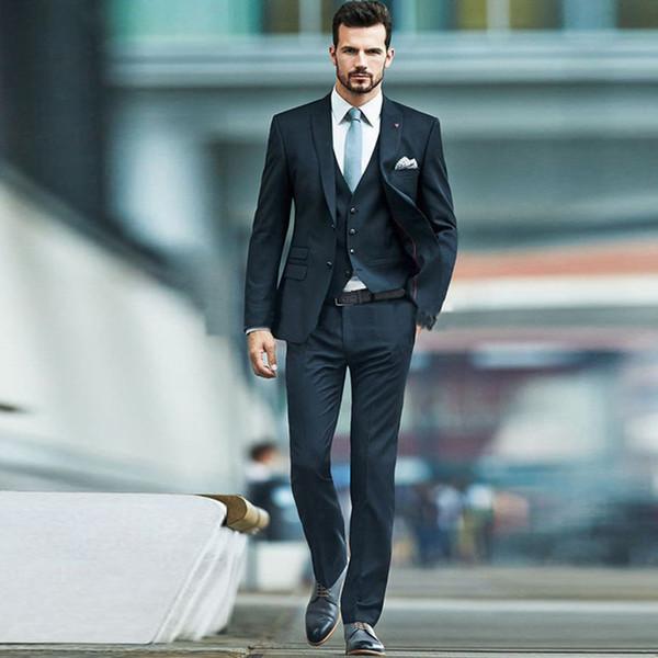 2018 Custom Made Black Three Piece Suit Slim Fit 2 Button Peaked Lapel Wedding Jacket (Jacket+Vest+Pant)