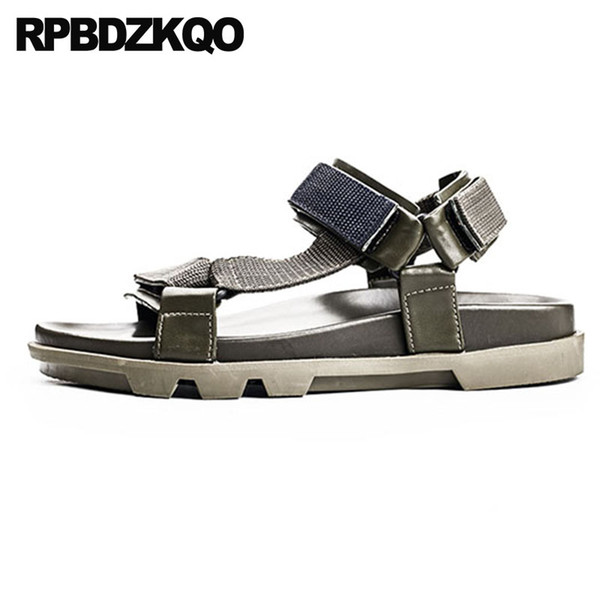 Shoes Designer Fashion Open Toe Genuine Leather Platform Mens Sandals 2018 Summer Outdoor Men Sport Sneakers Beach Green Strap