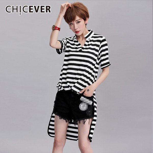 ba521be1df977 Chicever 2018 Summer Striped Female T Shirts For Women Top Short Sleeve  Slim Asymmetrical Plus Size Women'S T Shirt Fashion New Funny Tees Funny T  ...