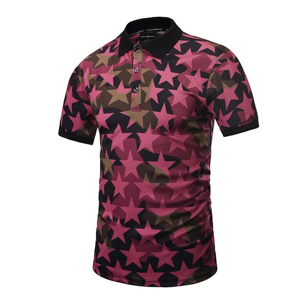 Original package mailed the new 3 d short sleeve  shirt design creative clothing T-shirt lapel leisure stars