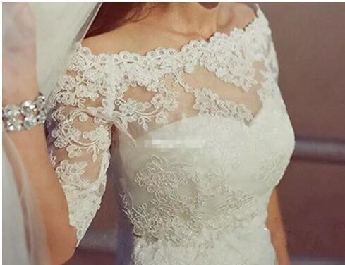 Elegant Off the Shoulder Lace Appliques Wedding Bridal Jackets Half Sleeves Bolero Wraps Custom Made White Ivory 2018