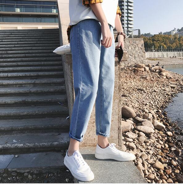 Мальчики широкие ножки брюки корейской версии тенденции свободные прямые джинсы мужчины ulzzang дикие студенты японские девять штанов
