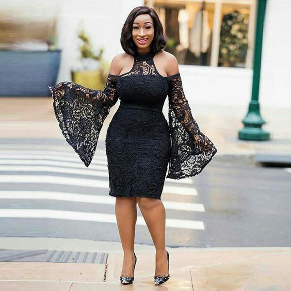 Fashion Black Knee Length Lace Prom Dresses halter Neck Long Sleeve backless Short Party Gowns Plus Size little black evening Cocktail Dress