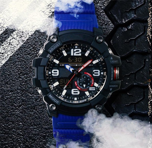 2019 Fashion Mens Shock Sports Watches Luxury AAA LED Dual Display Analog Quartz Bracelet Wristwatches G Style Outdoor Compass Climb Clock