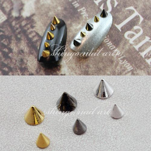 100pcs Fashion nail accessory Metal Punk Metallic Cone Spikes Nail Art Tip Decoration Rivet DIY art retro stud ornaments